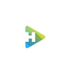 media letter h logo icon design vector image
