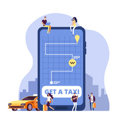 mobile taxi online taxi service and payment with vector image