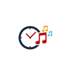 music time logo icon design vector image