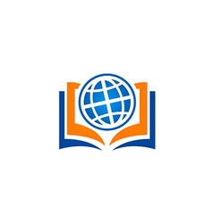 open book globe education school logo vector image