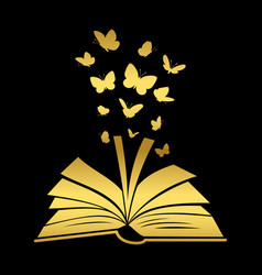 Open textbook with gold butterfly vector