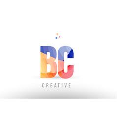 Orange blue alphabet letter bc b c logo icon vector