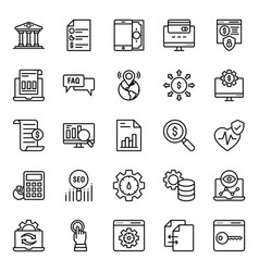 Pack seo line icons vector