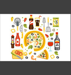 pizza preparation set of utensils vector image