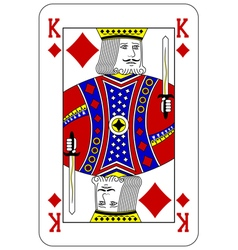 Poker playing card King diamond vector