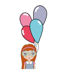 Pretty girl with hairstyle and balloons vector