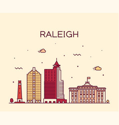 Raleigh skyline north carolina usa linear vector