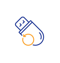 Recovery usb memory line icon backup data sign vector