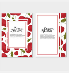 red cherry card frame vintage template vector image