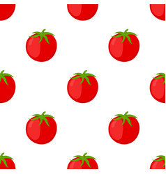 Red tomatoes seamless pattern cartoon flat style vector