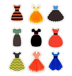 Retro Fashion Dresses Set vector image