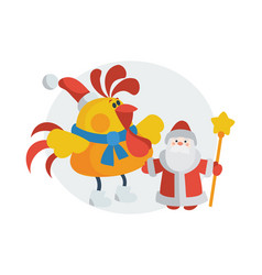 rooster with santa claus cartoon flat icon vector image
