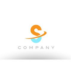 S orange blue logo icon alphabet design vector