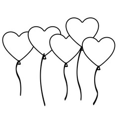Silhouette bunch romantic balloons decorative vector