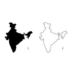 Simple only sharp corners map of india including vector
