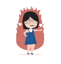 small girl angry standing pointing her finger vector image