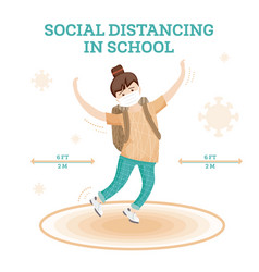 social distancing in school young girl jumping vector image