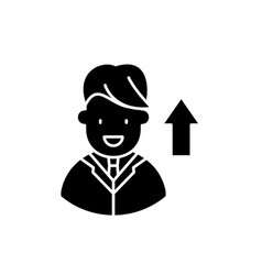 successful manager black icon sign on vector image