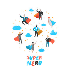 Superhero business people characters business vector