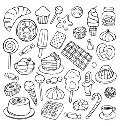 Sweets doodle set vector