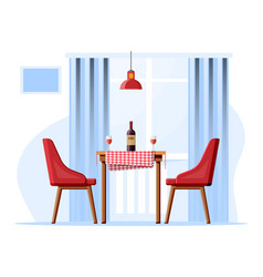 table with chairs lamp bottle wine glasses vector image