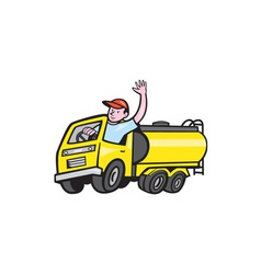 Tanker Truck Driver Waving Cartoon vector image