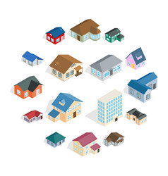 town house cottage set isometric 3d style vector image