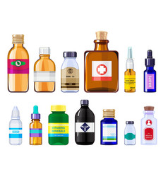 various medical bottles health care concept vector image