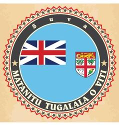 Vintage label cards of Fiji flag vector