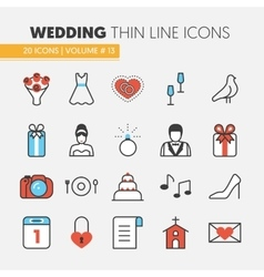 Wedding Party Thin Line Icons Set vector