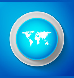 white world map icon isolated on blue background vector image