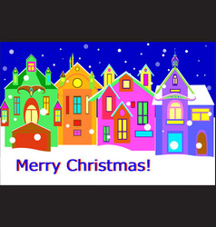 Winter town street with words merry chrismas vector