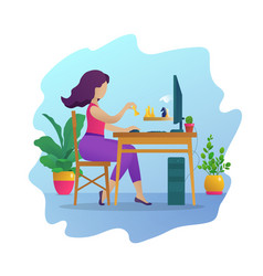 Young woman playing chess online vector