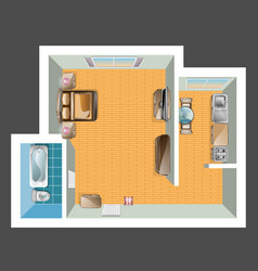 top view of apartment vector image vector image