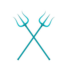 two crossed tridents in blue design vector image vector image