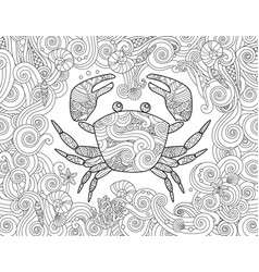 coloring page ornate crab and sea wave curl vector image vector image