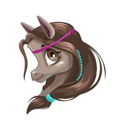 cute cartoon little horse face vector image vector image