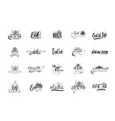 eid mubarak badge design sticker stamp - vector image
