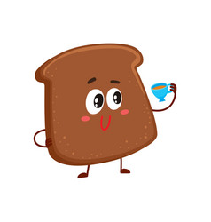 Funny smiling dark brown bread slice character vector
