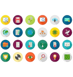 IT technology rouns icons set vector image