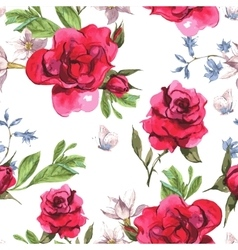 Seamless Watercolor Background with Blooming Red vector image