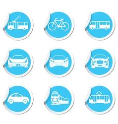 Set of 9 Transport BLUE LABEL vector image