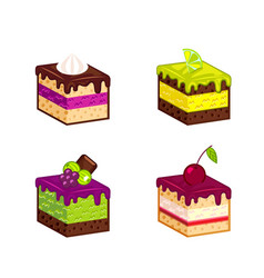 Set of cakes pieces vector