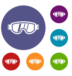 Skiing mask icons set vector