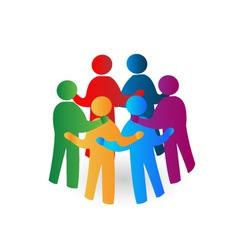 Teamwork meeting people logo vector image