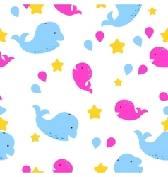 Whale kid seamless pattern for textile vector image vector image