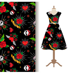 dress fabric pattern with funny tattoo vector image