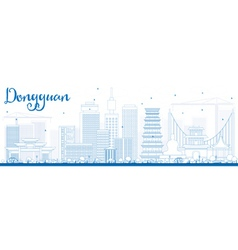 Outline Dongguan Skyline with Blue Buildings vector image vector image