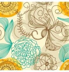 retro floral background vector image