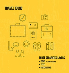 Travel objects Thin line icons set vector image vector image